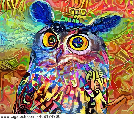 An Artistically Designed And Digitally Painted, Portrait Of A Wise Owl.