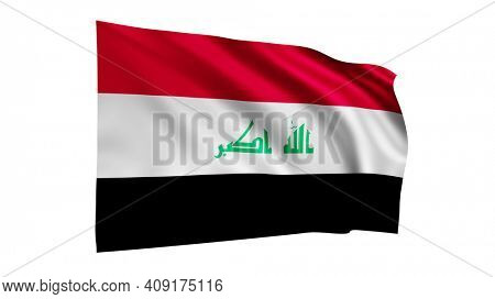 The flag of Iraq isolated on white, realistic 3D wavy Iraqi flag render illustration.