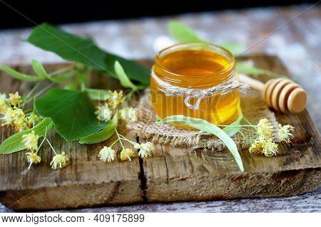 Honey Stick, Jar Of Linden Honey, Linden Flowers. Linden Honey.