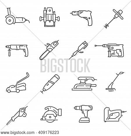 Power Tools Thin Line Icons Set Isolated On White. Carpentry, Joinering, Woodwork Equipment.