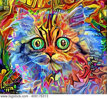 An Artistically Designed And Digitally Painted, Portrait Of A Cute Cat.