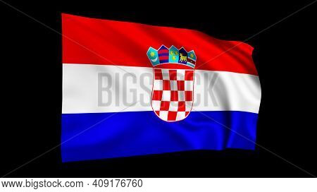 The flag of Crotaia isolated on black, realistic 3D wavy Croatian flag render illustration.