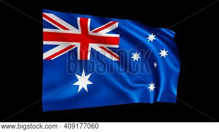 The flag of Australia isolated on black, realistic 3D wavy Australian flag render illustration.