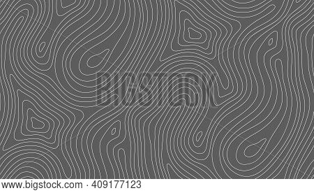 Seamless Vector Topographic Map Background White On Dark. Line Topography Map Seamless Pattern. Moun