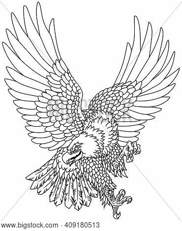 Eagle In The Flight. Landing Attacking Prey Bird.  Tattoo Style Outline Vector Illustration