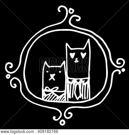 A Pair Of Cats Drawn By Hand In A Doodle Style . Cute Cat And Lady Cat Together And In A Cute Simple
