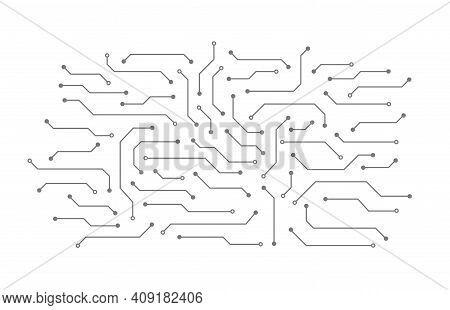 Abstract Circuit Board. Background Of Microchip Elements Consisting Of Dots And Lines. Technology Co