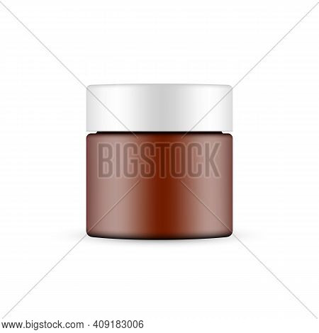 Plastic Frosted Amber Cosmetic Jar Mockup Isolated On White Background. Vector Illustration