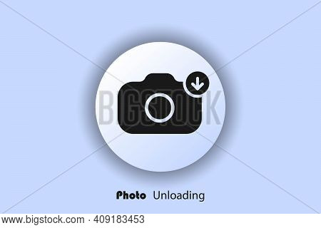 Photo Unloading Icon, Flat, Camera Icon, User Interface Icon, Picture Unloading Button. Neomorphism.