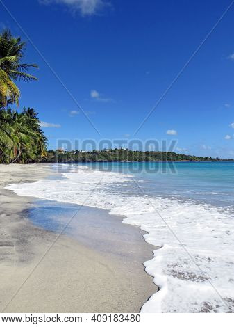 Idyllic Caribbean Coast Of The French West Indies. Exotic Beach Landscape With Turquoise Waters Of T
