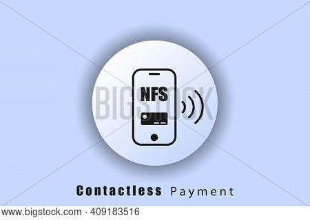 Smartphone Payment Icon, Badge, Contactless Payment Button, Nfc, Wireless Payment, Ui Icon. Neomorph