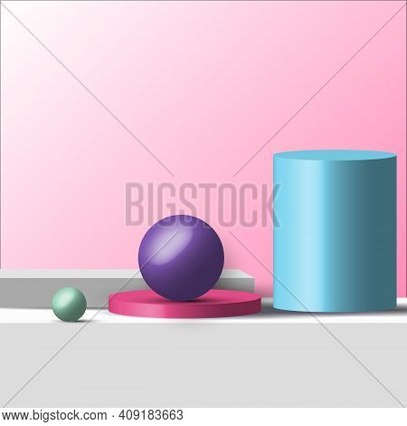 3d Realistic Geometric Shapes Pastel Color Product Shelf Standing Backdrop With Circle Blank Pedesta