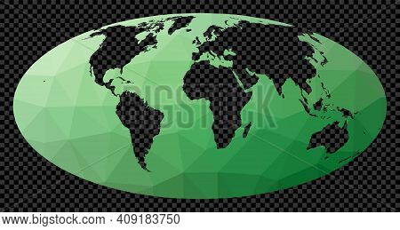 Polygonal Map Of The World On Transparent Background. Mollweide Projection. Polygonal Map Of The Wor