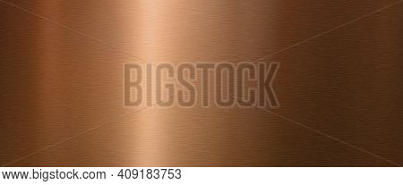 Shiny Brushed Copper Metallic Surface. Horizontal Background Mit Space For Text. Top View.