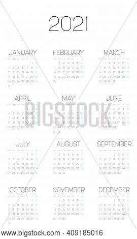Monthly Calendar Of Year 2021. Week Starts On Sunday. Block Of Months In Four Rows And Three Columns