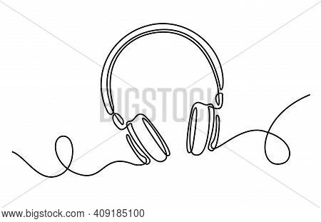One Line Headphones. Hand Drawn Vector Illustration. Continuous Line Drawing Of Headphones Music Mus