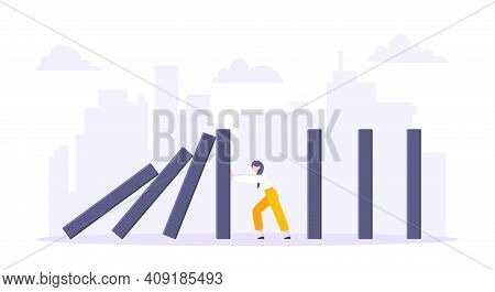 Business Resilience Domino Effect Metaphor Vector Illustration Concept. Adult Young Businesswoman Pu