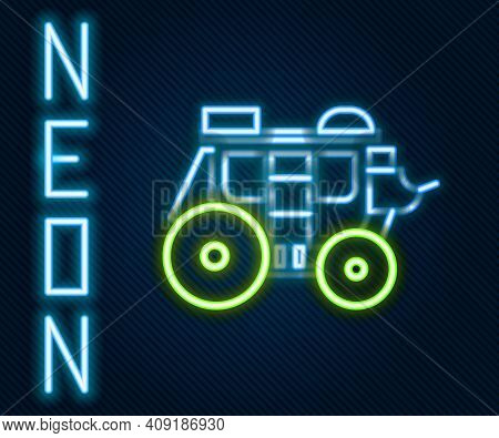 Glowing Neon Line Western Stagecoach Icon Isolated On Black Background. Colorful Outline Concept. Ve