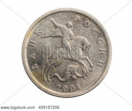 Russia One Kopeck Coin On A White Isolated Background