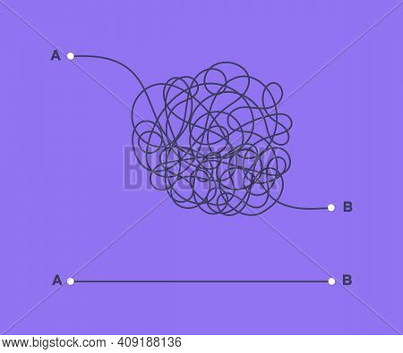 Complex And Easy Simple Way From Point A To B Vector Illustration. Chaos Simplifying, Problem Solvin