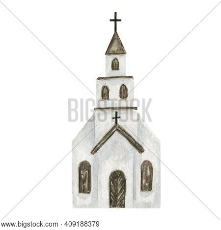 Watercolor Old Catholic Church Isolated On A White Background. Christian Religious Building Close-up