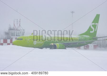 10-02-2021 Kazan, Russia, Kazan International Airport: S7 Airlines Campaign Plane At The Airfield In