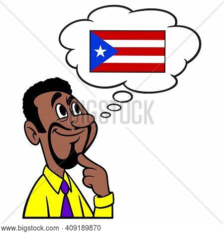 Man Thinking About Puerto Rico - A Cartoon Illustration Of A Man Thinking About Puerto Rico.