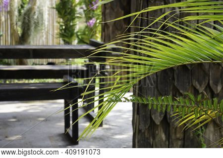Simple Resort Furniture Seat Setting Arrangement, Stock Photo