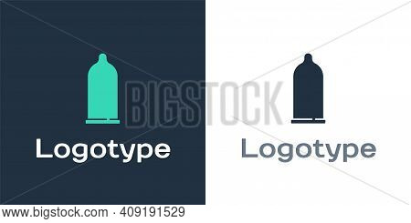 Logotype Condom Safe Sex Icon Isolated On White Background. Safe Love Symbol. Contraceptive Method F