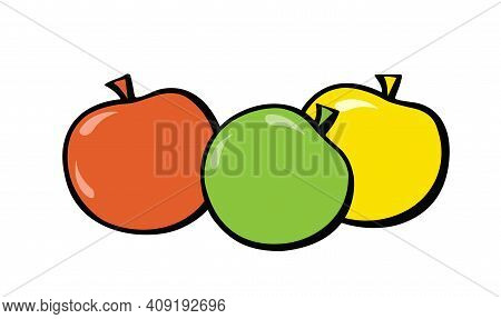 Green, Red And Yellow Apples. Pop-art. Retro Style. Vector Illustration