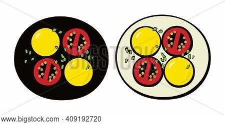 Potatoes, Tomatoes And Onions. Vegetarian Dish. Pop Art. Retro Style. Vector Illustration