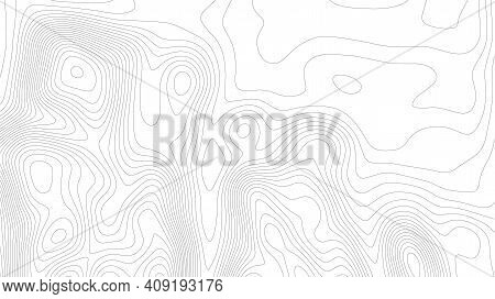 Terrain Line. Topographic Map On White Background. Topo Map Elevation Lines. Contour Vector Abstract