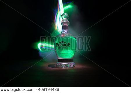 Baku, Azerbaijan - Jan 31, 2021: Bourge Vodka Is A Brand Of Vodka, Produced In France. Bottle Of Vod