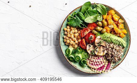 Vegan Bowl. Avocado, Quinoa, Sweet Potato, Tomato, Spinach And Chickpeas Vegetables Salad. Buddha Bo