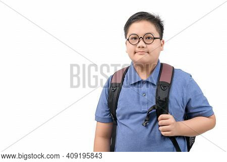 Handsome  Boy Student Wearing Glasses And Carrying A School Bag Isolated On White Background, Back T