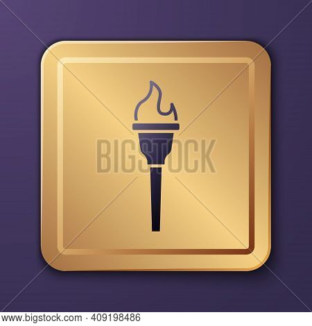 Purple Torch Flame Icon Isolated On Purple Background. Symbol Fire Hot, Flame Power, Flaming And Hea