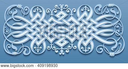 Ethnic Ornamental Weaving Vintage Border. Modern Volumetric Floral Elements Vector Illustration. Tre