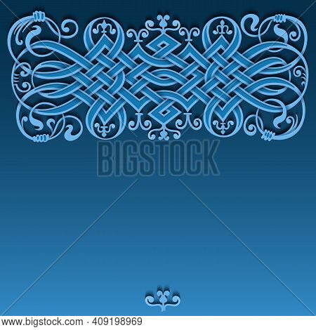 Ethnic Ornamental Weaving Vintage Border. Modern Volumetric Floral Elements Card Template. Trendy Pa