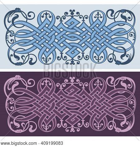 Ethnic Ornamental Weaving Vintage Borders Set. Vector Illustration