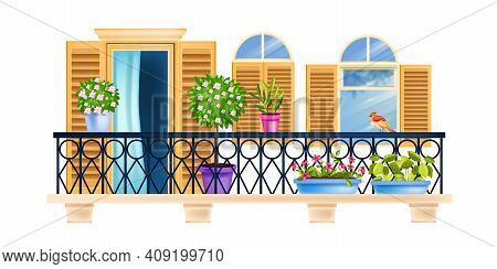 House Balcony, Old Town Vector Facade Window Architecture Illustration, Railing, Wooden Shutters, Bi