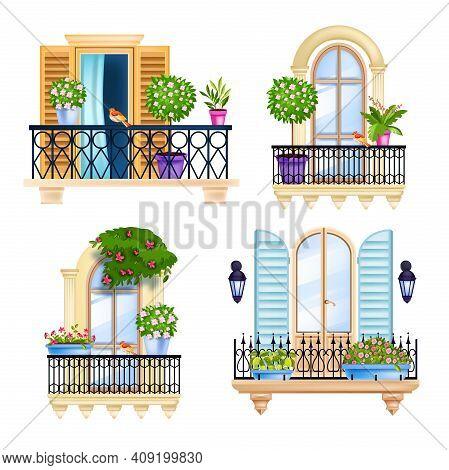Vector House Window, Balcony Facade Spring Set, Blossom Trees, Birds, Green Home Plants. Old Town Vi