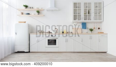 Minimal Cozy Light Home Style, Scandinavian Interior After Repair. White Furniture With Utensils, Sh