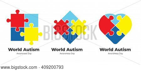 World Autism Awareness Day Design Template. Can Be Used For Banners, Backgrounds, Badge, Icon, Medic