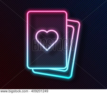 Glowing Neon Line Deck Of Playing Cards Icon Isolated On Black Background. Casino Gambling. Vector