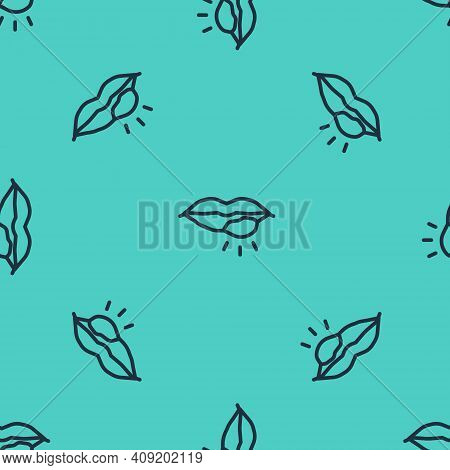 Black Line Herpes Lip Icon Isolated Seamless Pattern On Green Background. Herpes Simplex Virus. Labi