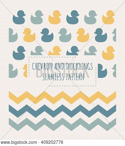 Ducks And Zig Zag Chevron Seamless Patterns. Two Colorful Pattern Designs With Duckling For Kids And