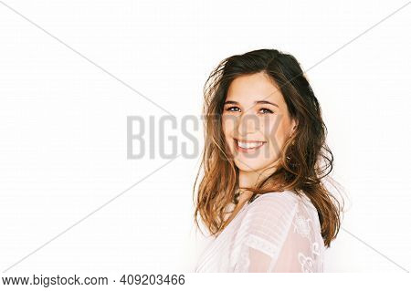 Close Up Portrait Of Happy Laughing Woman, Posing On White Background, Messy Hair