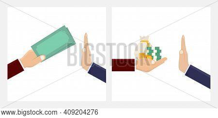 Stop Corruption, Business People Reject Corruption Money Design Vector Illustration