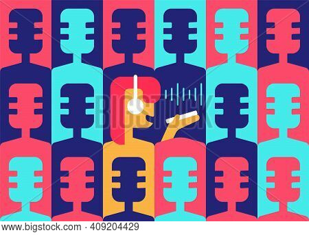 Drop-in Audio Chat. Podcast Room. Club House. Abstract Background From Old Retro Microphones. Girl S