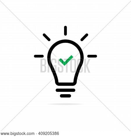 Green Check Mark Sign In Bulb Icon. Concept Of Lightbulb On Wirelike Startup And Easy Inspiration Or